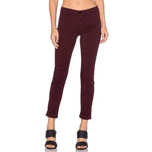 J Brand Anja Skinny Cuffed Ankle Jeans in Mulberry